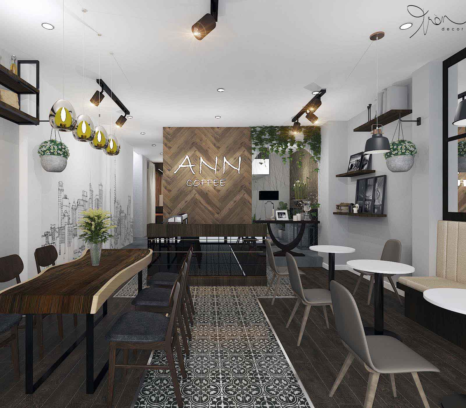 THIẾT KẾ NỘI THẤT QUÁN CAFE ANN 70M2