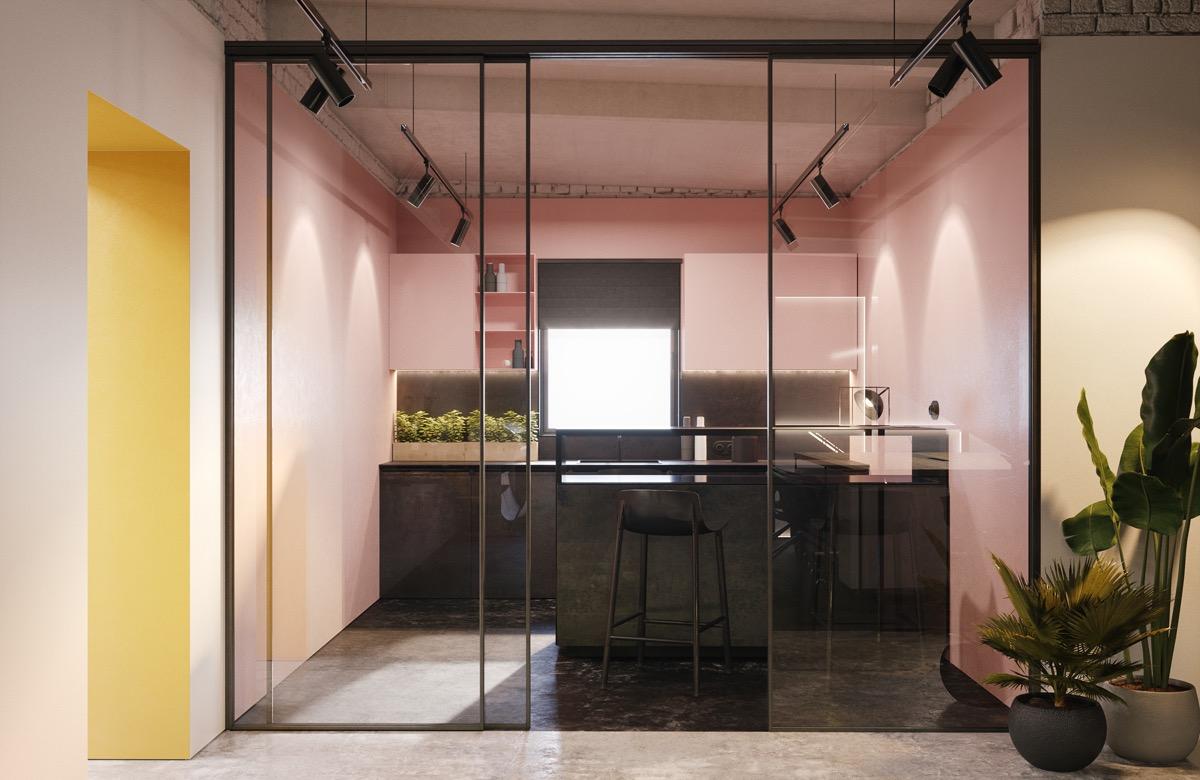 pink black kitchen