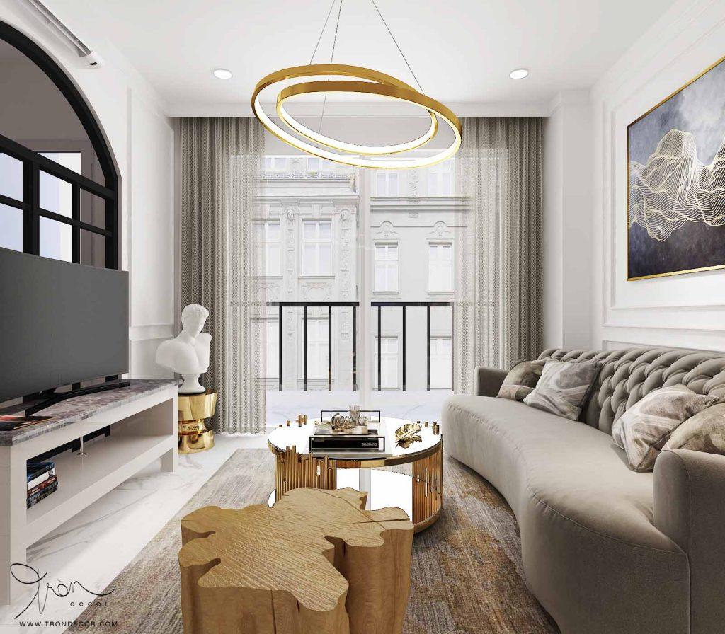 Căn hộ Sunrise 3 phòng ngủ Tròn Decor thiết kế theo phong cách tân cổ điển