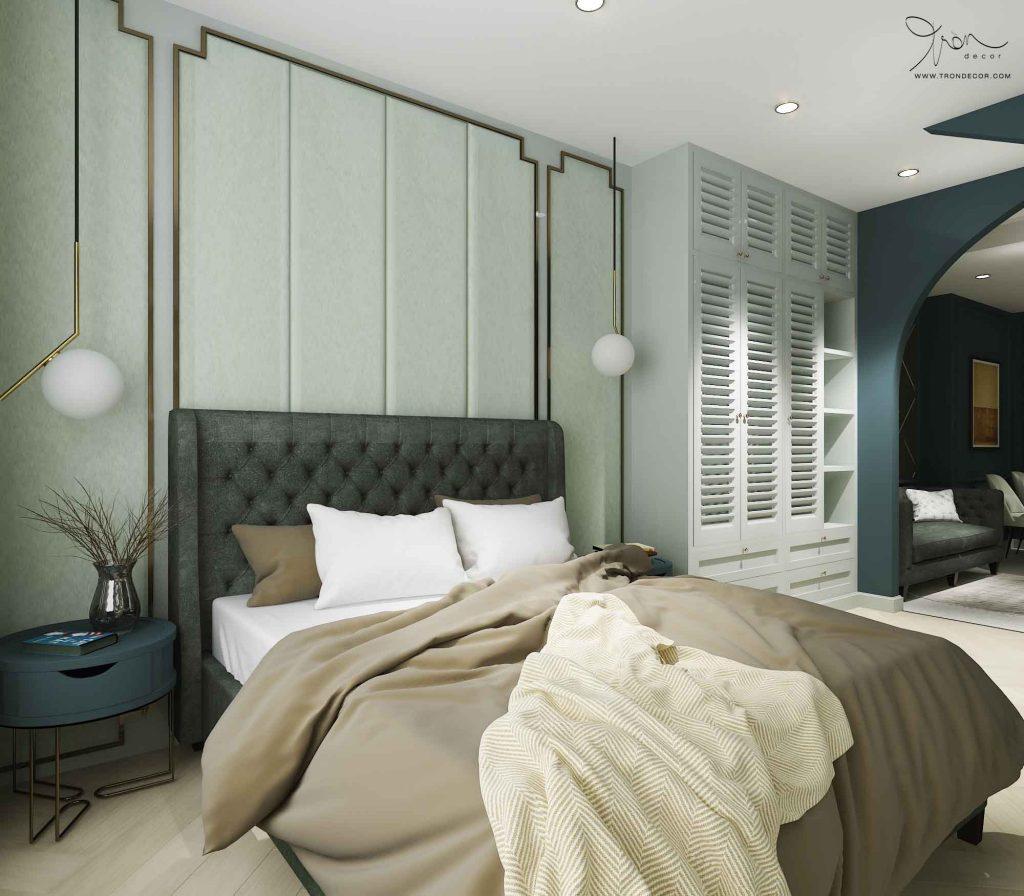 Mẫu phòng ngủ đẹp tông màu xanh bạc hà với phong cách Neo Classic